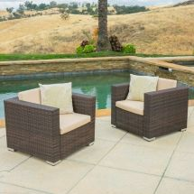 Set Of 2 Outdoor Patio Furniture Brown Wicker Sofa Club
