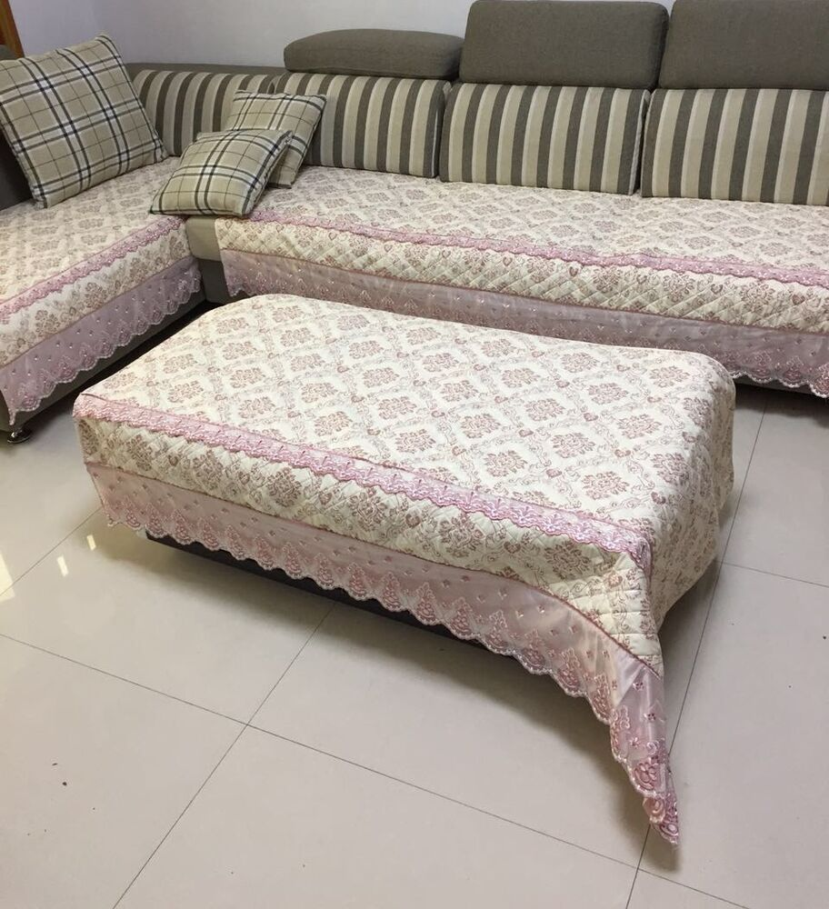 Quilted And Lace Custom Sectional Sofa Couch Slipcovers Furniture Protector EBay