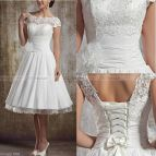 2016 Stock White Ivory Lace Short Wedding Dress Bridal