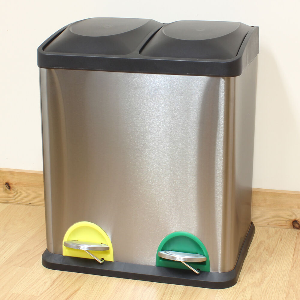 stainless kitchen trash can square sink hartleys 30l steel rubbish/waste & recycling pedal bin ...