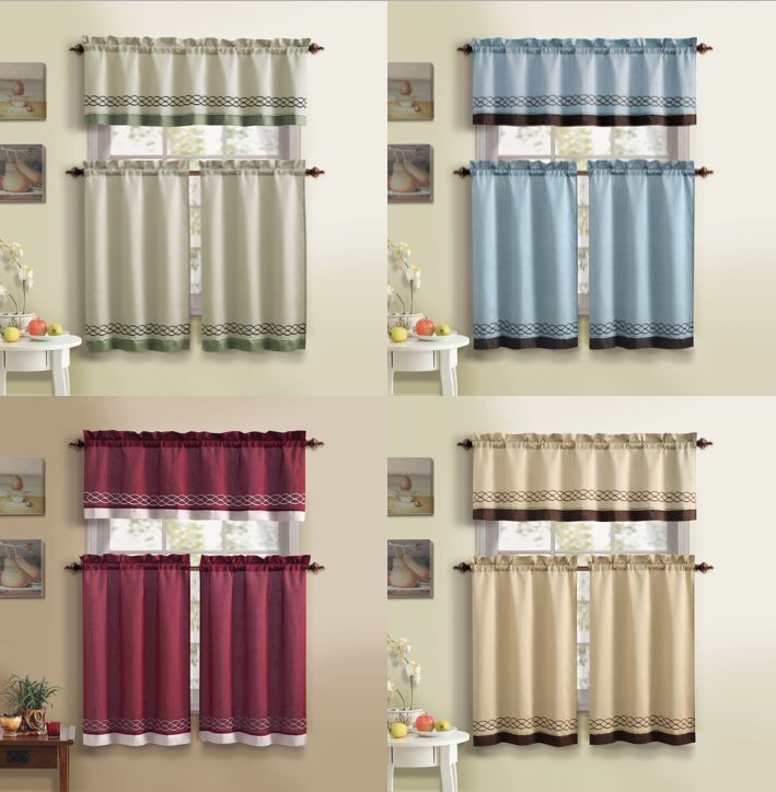 Bedford Embroidered Fabric Kitchen Curtain Set By