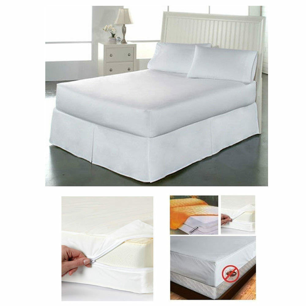 Full Size Bed Mattress Cover Zipper Plastic Dustproof