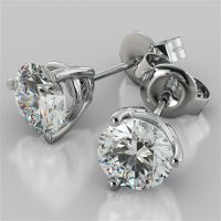 Martini Style Round Cut Stud Earrings Available in 14K ...