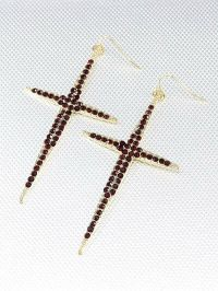 """3."""" Long Large Gold and Red Rhinestone Cross Dangle ..."""