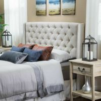 Bedroom Furniture Queen/Full Size Bed Wingback Beige