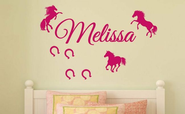 Personalized Name 3 Horses Horseshoes Vinyl Wall Decal