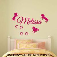 Personalized Name, 3 Horses & Horseshoes Vinyl Wall Decal ...