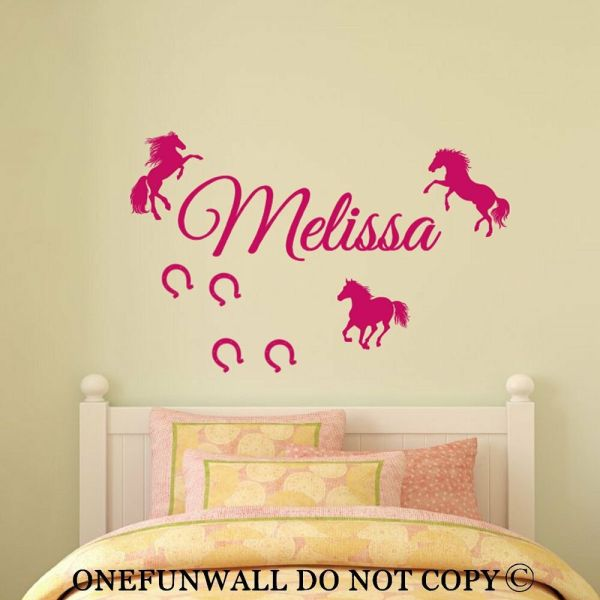 Personalized 3 Horses & Horseshoes Vinyl Wall Decal