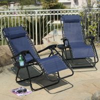 Zero Gravity Chairs Case Of (2) Blue Lounge Patio Chair ...