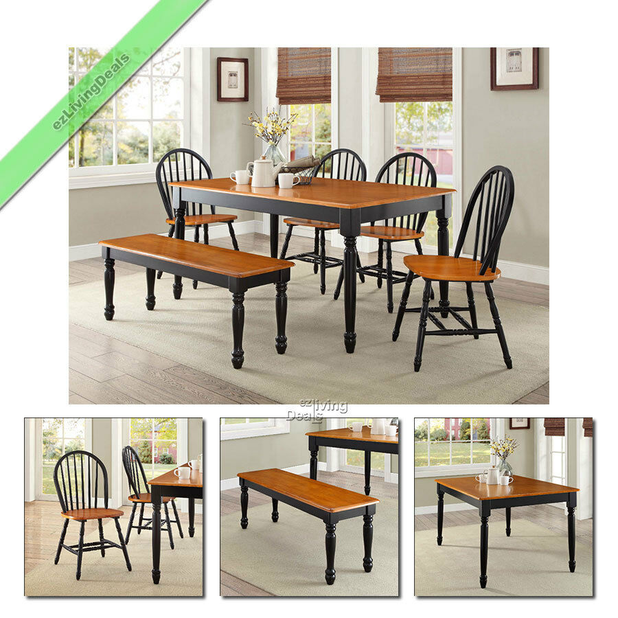 6Pc Farmhouse Dining Set Table Bench Chairs Wood Windsor Country Sets Black Oak  eBay