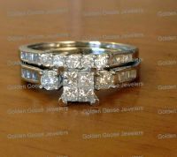 10k White Gold Princess Cut Round Diamonds Engagement