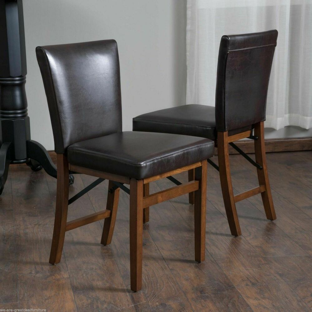 Set of 2 Elegant Design Brown Leather Folding Dining