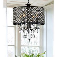Antique black Crystal Chandelier Drum pendant ceiling