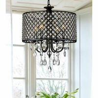 Antique black Crystal Chandelier Drum pendant ceiling ...