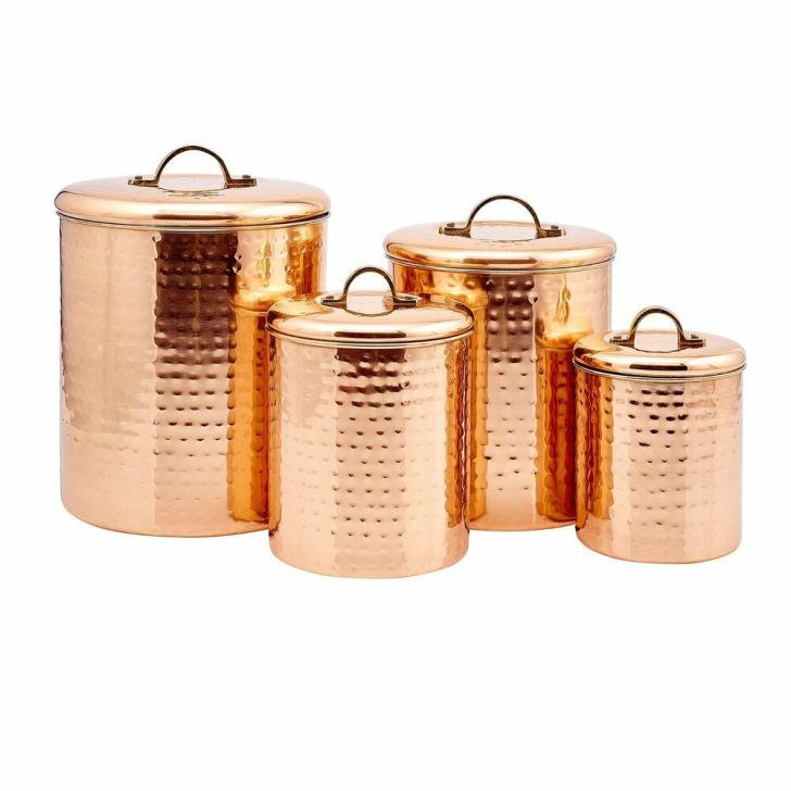 Copper Kitchen Canisters Set Containers Stainless Steel Country Rustic