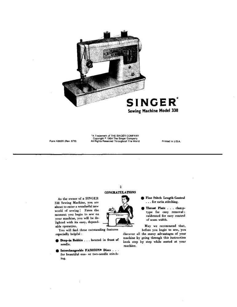 Singer 338 Sewing Machine/Embroidery/Serger Owners Manual