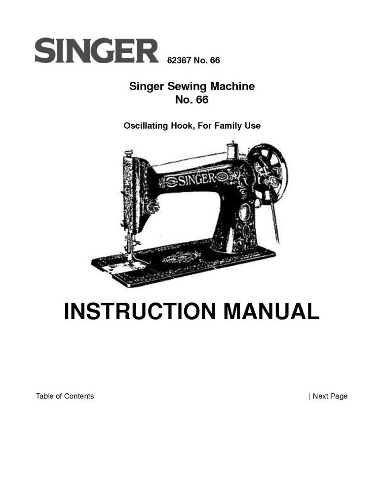 Singer 66 Sewing Machine/Embroidery/Serger Owners Manual