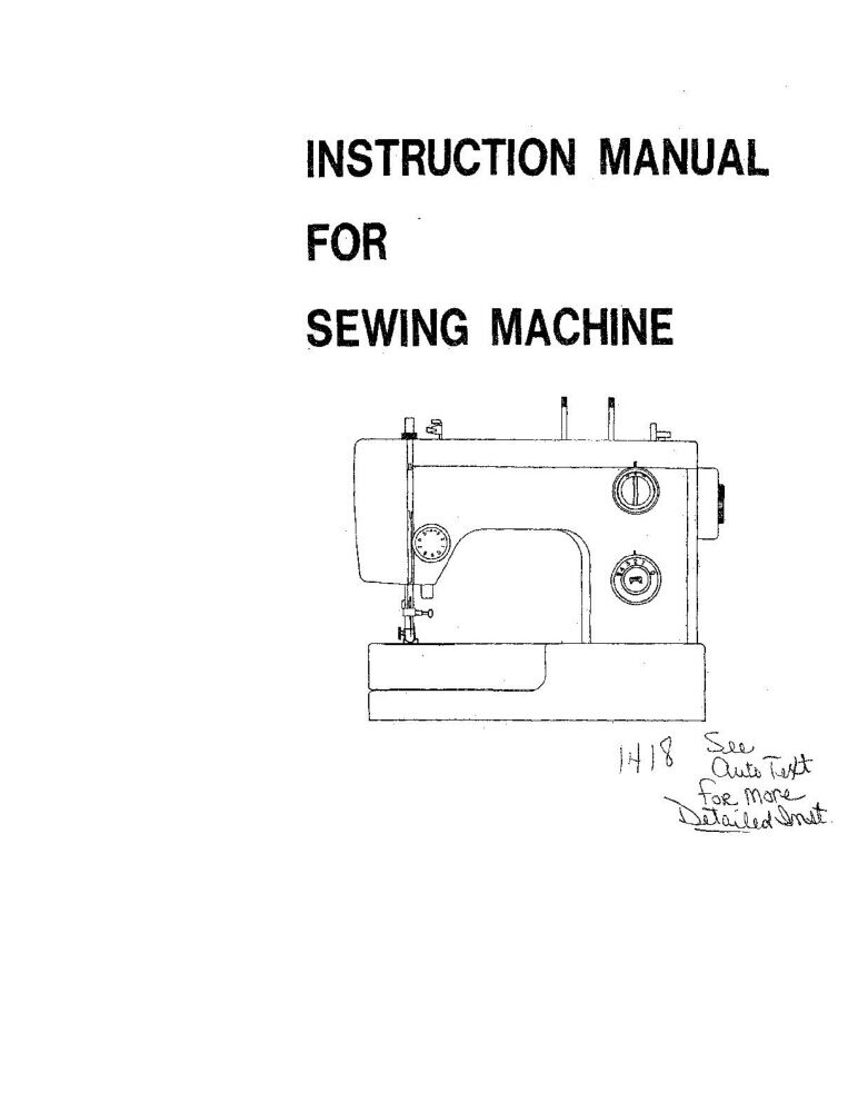 White W1418 Sewing Machine/Embroidery/Serger Owners Manual