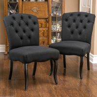 Set of 2 Dining Room Elegant Button Tufted Black Scroll
