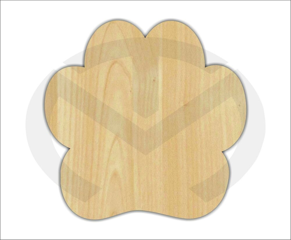 Unfinished Wood Paw Print Laser Cutout, Wreath Accent