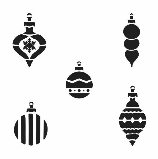 Christmas/Holiday STENCIL*5 different ornaments*12x12 for