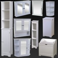 WHITE BATHROOM FURNITURE CABINET SHELVING LAUNDRY BIN