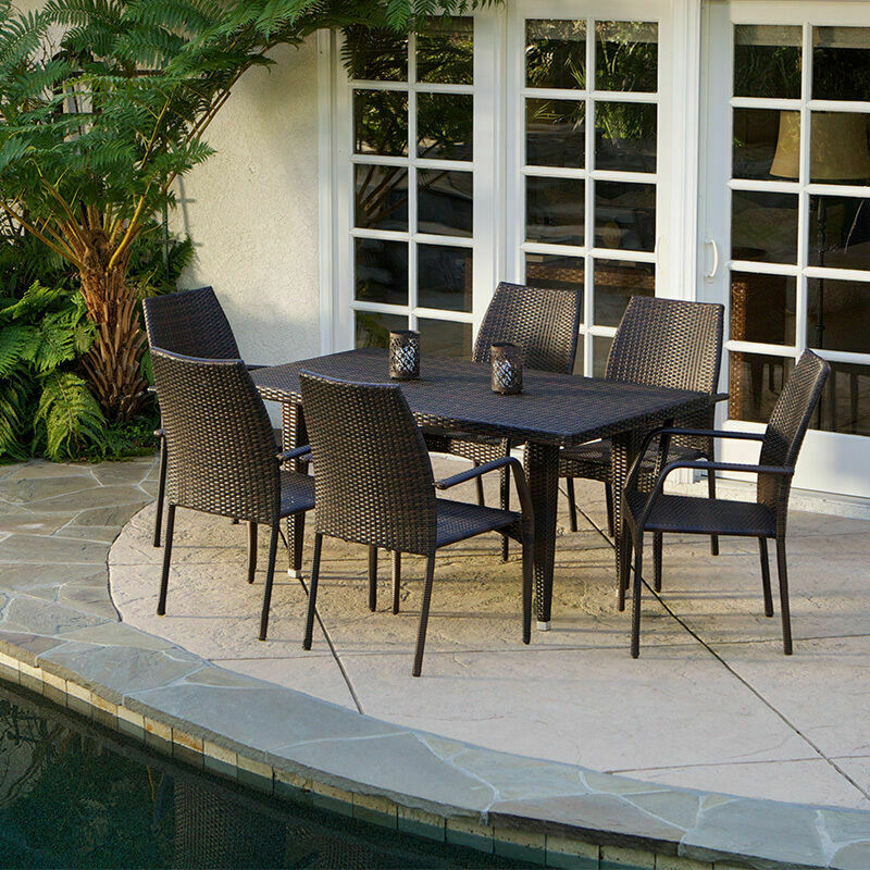 7 Piece Outdoor Patio Furniture Brown All Weather Wicker Dining Set 637162731345 EBay