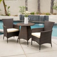 (3-Piece) Outdoor Patio Furniture Multibrown Wicker Bistro ...