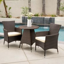 3-piece Outdoor Patio Furniture Multibrown Wicker Bistro