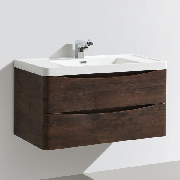 900mm Designer Chestnut Bathroom Wall Hung Vanity Unit