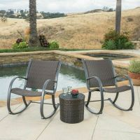 Outdoor Patio Furniture 3pc Brown Wicker Rocking Chair Set ...