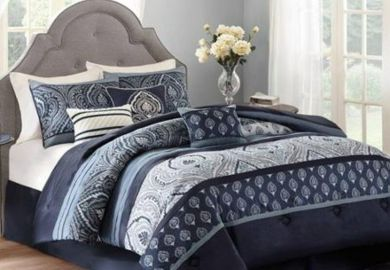Brown And Navy Blue Bedding