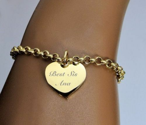 PERSONALIZED STAINLESS STEEL GOLD HEART CHARM BRACELET