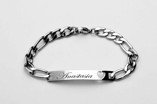 PERSONALIZED LADIES39 SILVER STAINLESS STEEL HEART ID