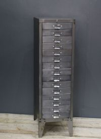 VINTAGE INDUSTRIAL STRIPPED METAL 15 DRAWER STOR FILING ...
