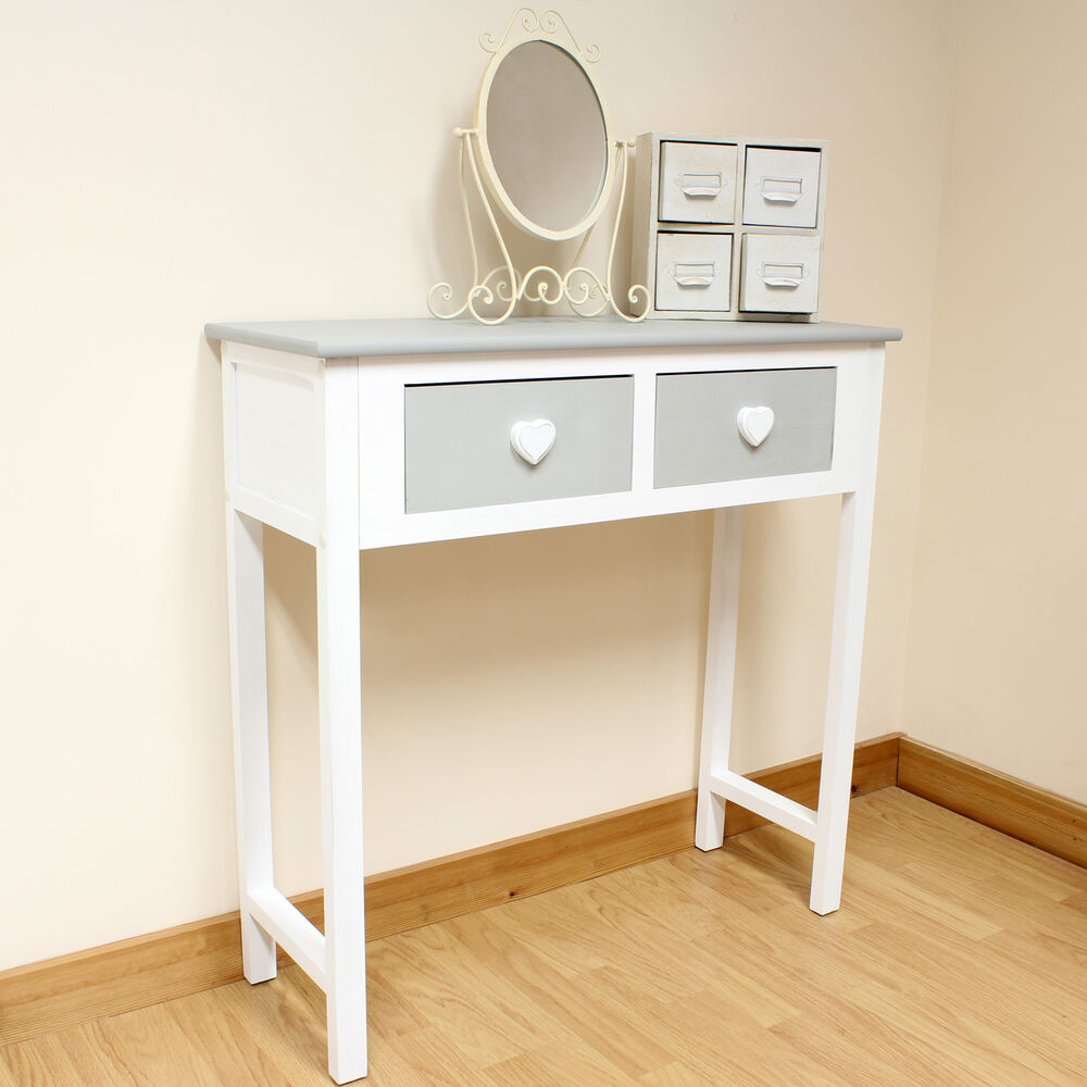 2 Drawer Dressing Table Grey Amp WhiteHeart HandlesGirlsChildrens Console Table EBay