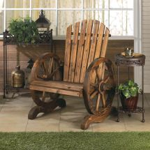 Country Style Rustic Wagon Wheel Adirondack Chair Decor