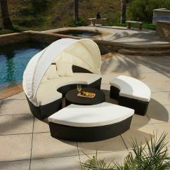 Rattan Garden Chairs And Table What S A Gaming Chair Outdoor Patio Furniture 4pcs All-weather Wicker Sectional Daybed/sofa Set | Ebay