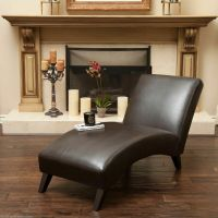 Living Room Furniture Contemporary Brown Leather Chaise ...