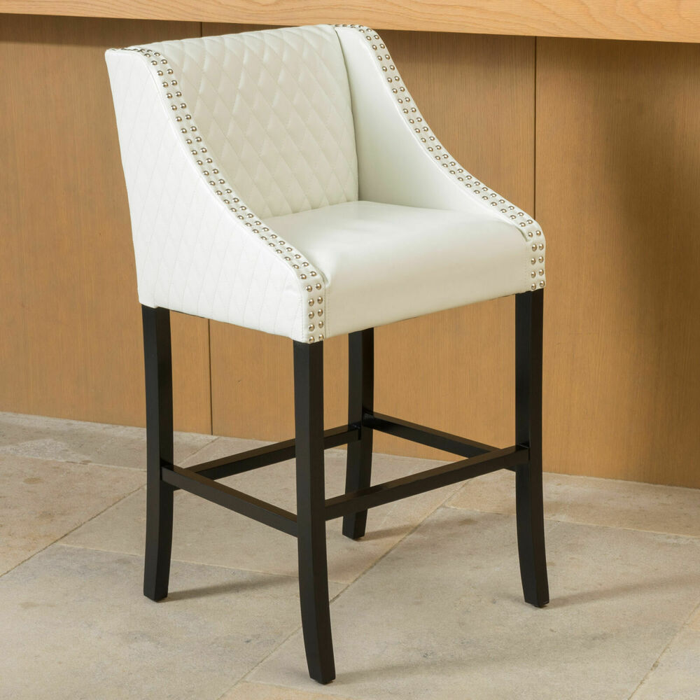 Elegant Contemporary Design Quilted Ivory White Leather