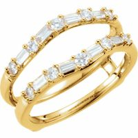 Round Baguette 1/2c Diamonds Ring Guard Wrap Solitaire ...