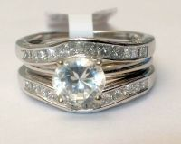 Solitaire Enhancer Diamonds Ring Guard Wrap 14k White Gold ...