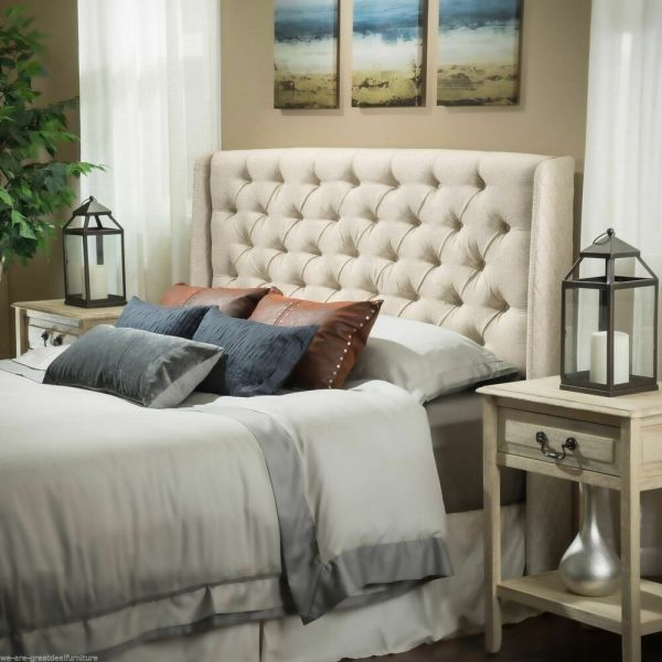 Bedroom Furniture Queen Full Size Bed Wingback Eggshell Tufted Fabric Headboard