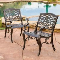Set of 2 Outdoor Patio Furniture Bronze Cast Aluminum ...
