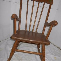 Antique Chairs Ebay Tantra Chair Size Vintage -childs Rocking -painted Black & Gold Fruit Wooden -boston Rocker |