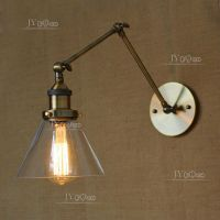 20TH C. Library Light Clear Glass Swing Arm Sconce Antique ...