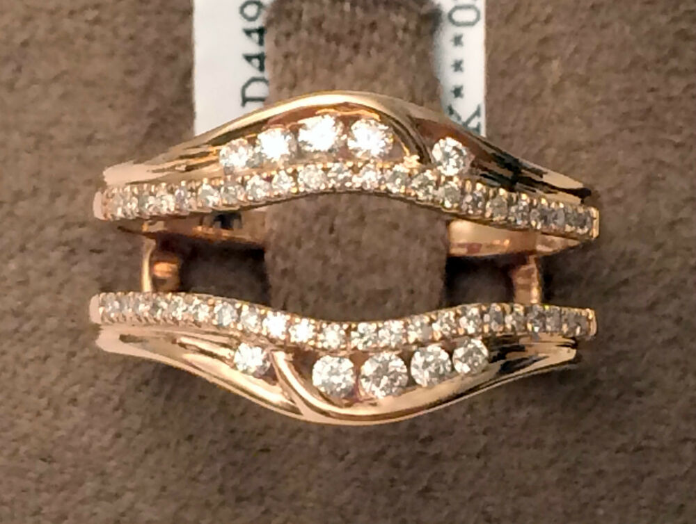 14k Rose Gold Solitaire Enhancer Round Diamonds Ring Guard Wrap Jacket Insert  eBay
