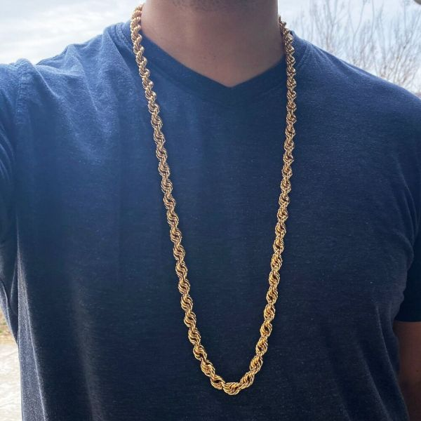 """36"""" Rope Chain 10 Mm Gold Finish Twisted Long Dookie"""