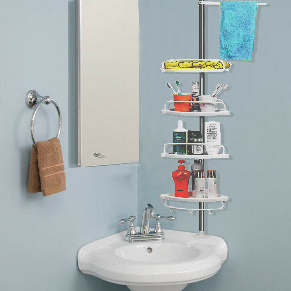 4TIER BATHROOM CORNER HANGING UPRIGHT SHOWER CADDY SHELF STORAGE RACK TOWEL RAIL  eBay