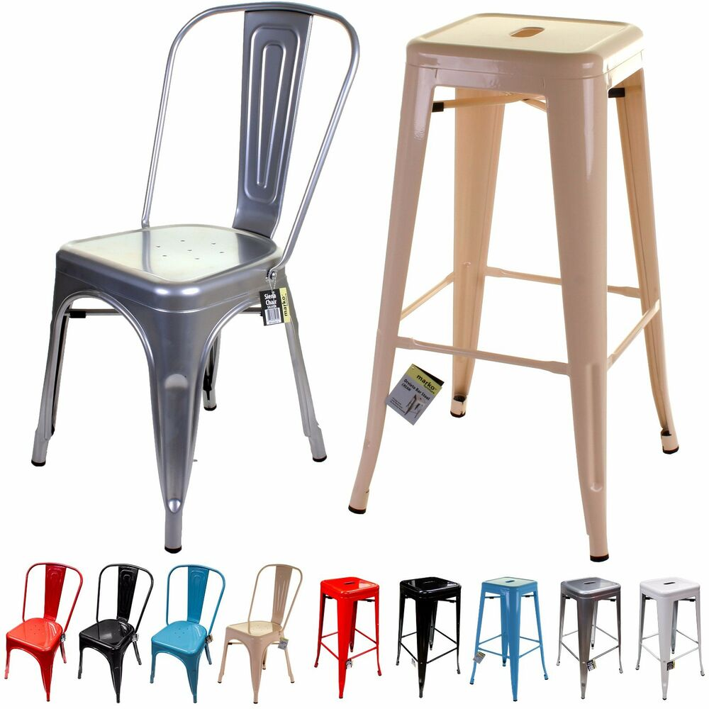 Metal Chair  Bar Stool Tolix Style French Inspired Design Classic Kitchen Seats  eBay
